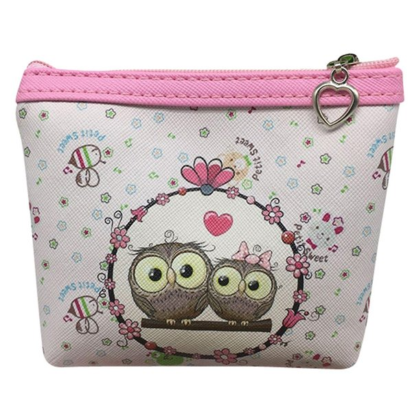 PU Leather Coin Purse Women Owl Printed Cute Children Girls Wallet Card Holder Coin Purse Clutch Pouch Handbag Purse#H5