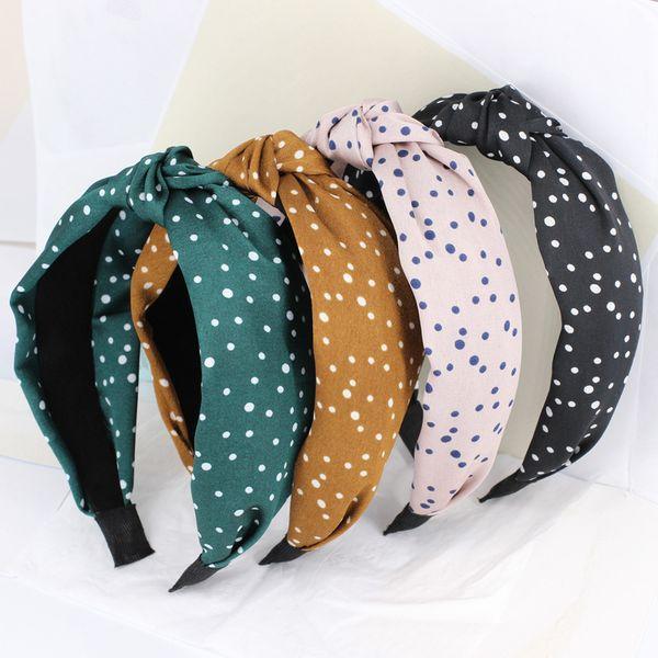 Богемный маленький в горошек плетеный атласная повязка на голову завязывают оголовье индивидуальные аксессуары для волос