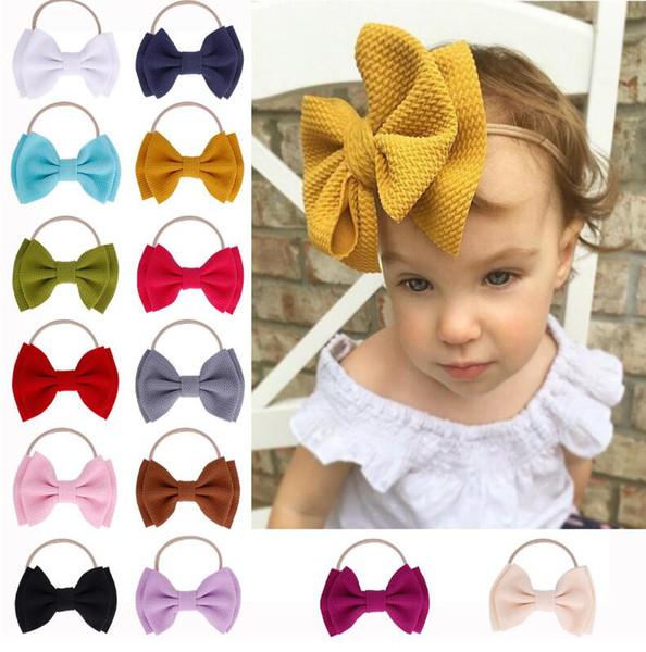 Cinta de nylon del pelo del Tazón de fuente-arco puro grande de los nuevos niños para la cinta del pelo de 2019 bebés para 14 colores