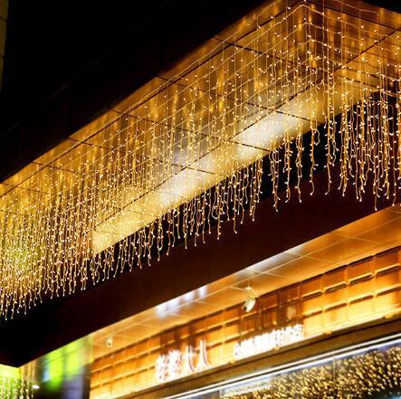 12M Outdoor x 0,8m 384 Led 24V de cortina da janela do sincelo Luzes Cordas for Wedding Party Início Jardim Quarto Natal Decoração parede interior