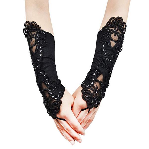 Женщины Кружева вышитые Свадебные перчатки банкета партии Fingerless Elegant Колено Длина Хлопушки девушки атласные перчатки