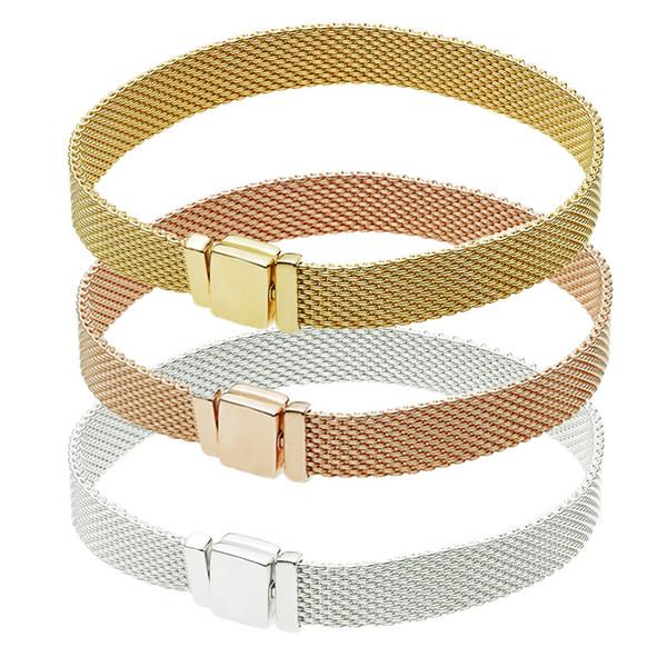 2018 verkauf heißer verkauf europäischen passt für pandora perlen silber armbänder für frauen reflexionen mit schließe klammer charme diy mode