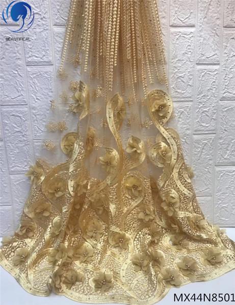 Tela africana del cordón del oro 2019 bordado nigeriano 3D tela de los cordones netos Tela nupcial del cordón de tul francés de alta calidad .5 yardas MX44N85
