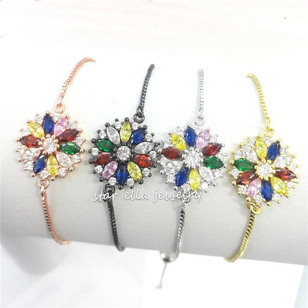 10pcs / lot 2019 Nouveau Bijoux Pavée Marquise Zircon coloré fleur Lien chaîne Bracelet réglable Fahion Bijoux