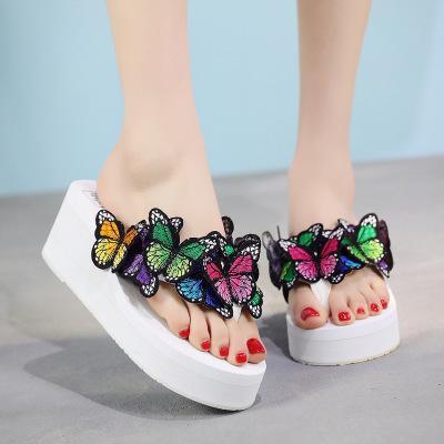 Hotsale Yaz Kadın Terlik Platformu banyo terlik Kama Plaj Kadınlar için Çevirme ayakkabı İşi kelebek Slaytlar size35-42