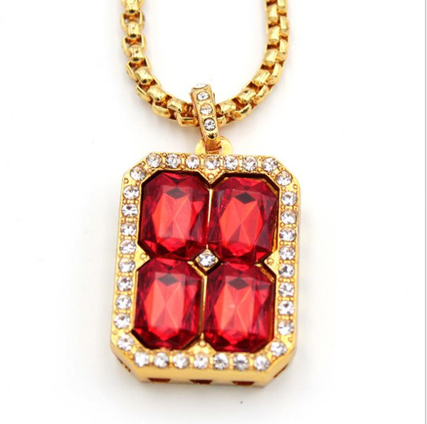 New European and American fashion hot red crystal personality Necklace quadrangular gemstone-set diamond boutique pendant hip-hop jewelry