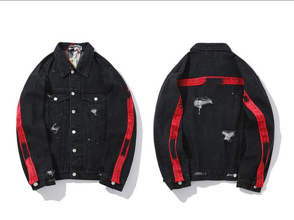 Großhandel Buchstaben Designer Pilot Rot WEISSReitJeansJacken Schwarz Damen Mantel Jacke Marke Druck M Gestreiften 2XL Arbeiten Luxusjeansjacke Mens qMSpzUV