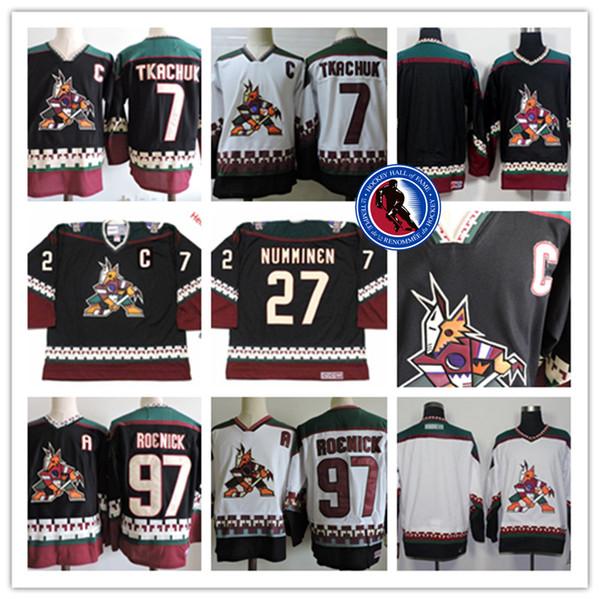 Camisetas de hockey para hombre de Arizona Coyotes JEREMY ROENICK # 7 KEITH TKACHUK # 27 TEPPO NUMMINEN PHOENIX COYOTES 1990s Classic Black Vintage Jersey