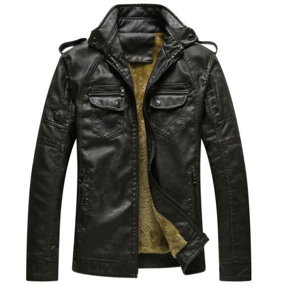 Veste en cuir pour homme Veste en cuir chaude et velours pour hommes européens et américains
