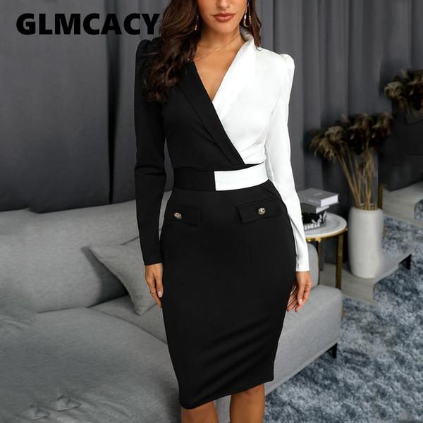 Женщины Элегантная мода офис леди рабочая одежда Стильная платье партии Two Tone Metallic Button Dress Midi Bodycon 2019