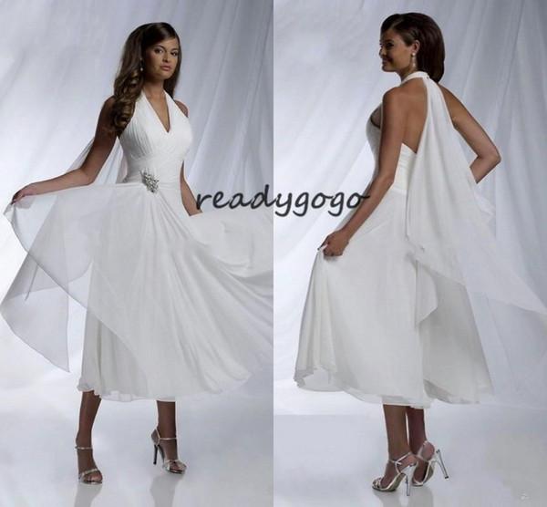 Tea-length Short Beach Wedding Dresses with Chiffon Ribbon 2019 Halter Simple Design Crystal Pleated Summer Boho Bridal Wedding Gown