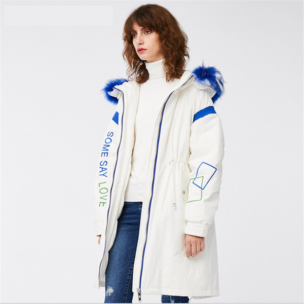 2019Winter New Down Dress Women's Long and Original Design Alphabet Printed Cap Coat