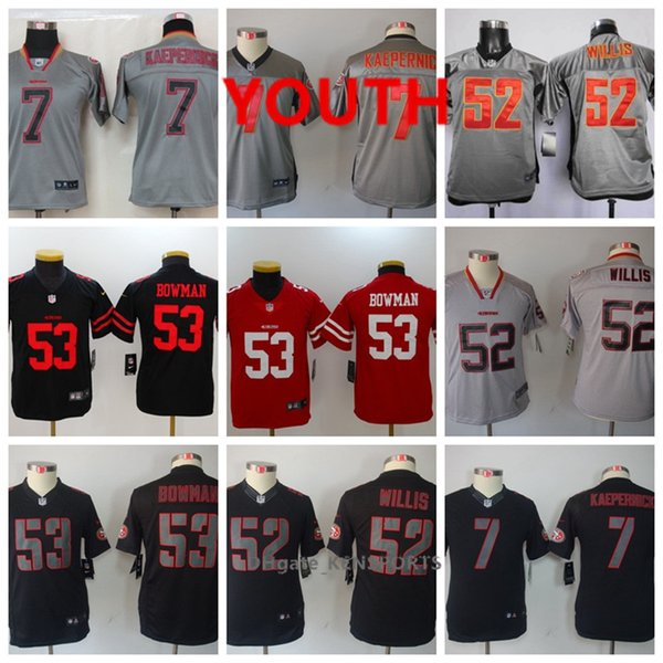 newest collection 0ca88 0c947 2019 Youth San Francisco Football 49ers Jersey 7 Colin Kaepernick 53  NaVorro Bowman 52 Willis Color Rush All Stitching Jerseys From  Top_jerseys001, ...