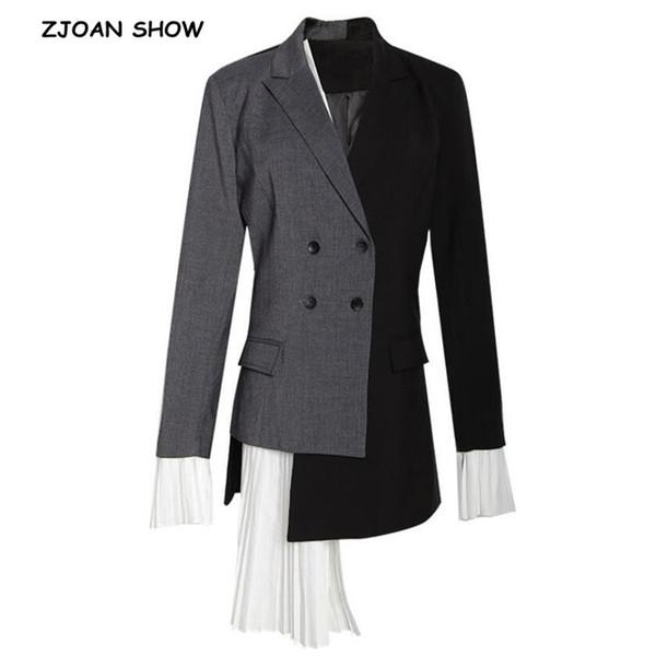 2019 Primavera Nuevas Mujeres Contraste de color Costura Plisado Blazer Asimétrico Retro Medio Traje Largo Chaqueta de abrigo ajustado Prendas de abrigo