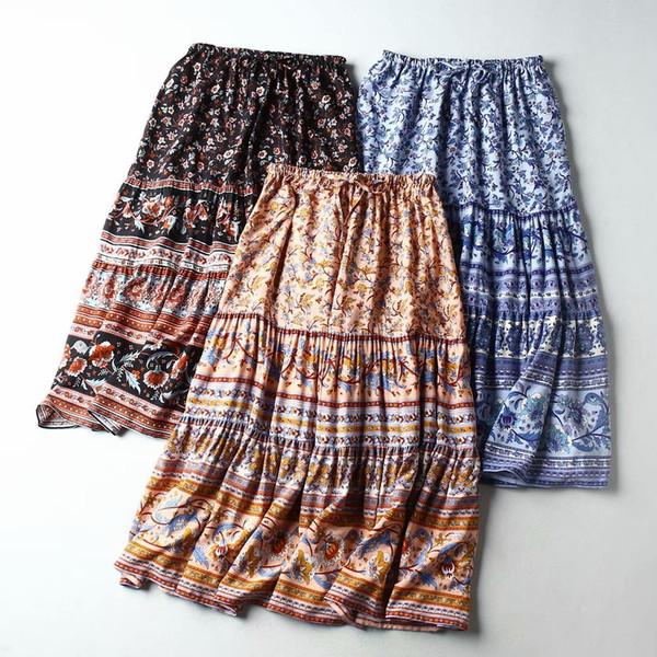 best selling Boho Floral Print Long Skirt Women Cotton Elastic Waist Bottoms Bohemian Beach Holiday Seaside Summer Skirt Female Fashion Spring 2020 New