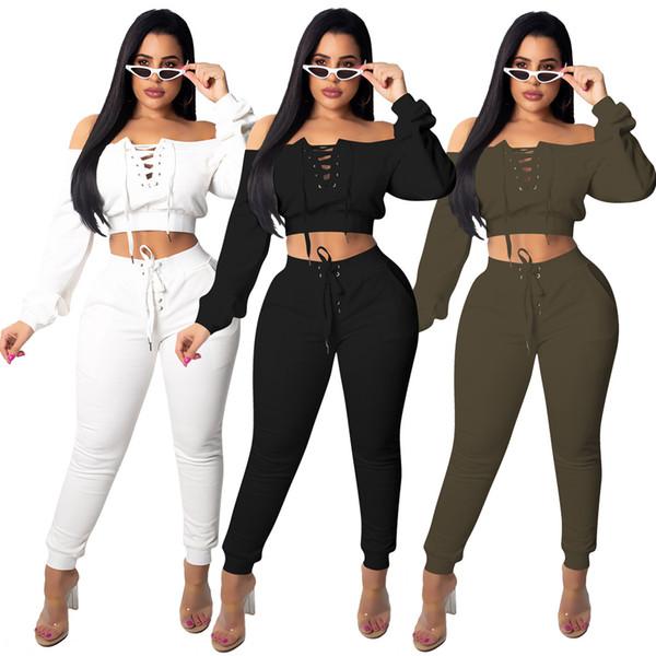 2018 Autumn Women Two Pieces Set Tracksuit Outfits Sport Suits Woman 2 Piece Pants Sets Women Solid Hoodies Short Bandage Tops