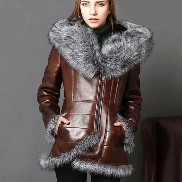 Winter Warm Real Fur Coat Women With Real Fox Fur Trim Genuine Leather Sheepskin Leather Bomber Jackets Vintage Lamb Clothes