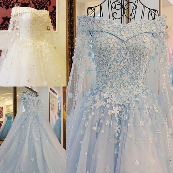 Abiti da sposa blu modestissimi con spalle lunghe e maniche lunghe in rilievo