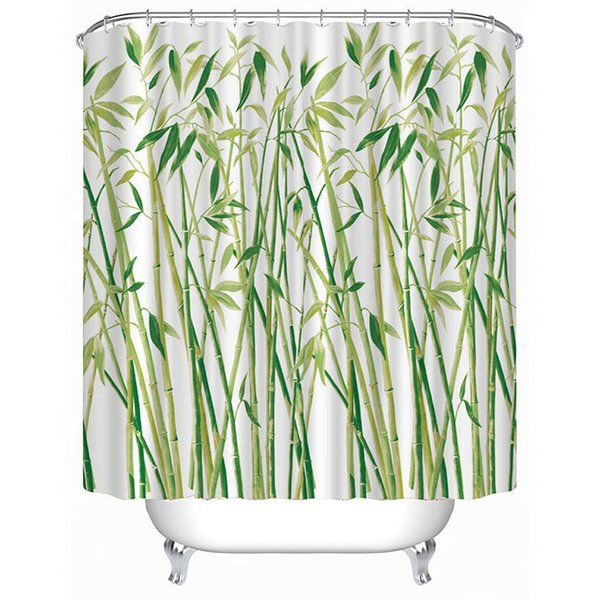 Nouveau design douche imperméable rideau Décorations bambou vert 3D Imprimé salle de bains Rideaux polyester obturateur pour salle de bain