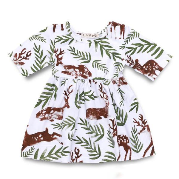 Bebek Kız Kokulu Çim Benekli Geyik Baskı Elbise Bebek Yaz Yarım Kollu Etekler Çocuk Tekne Boyun Elbiseler Çocuk Giysileri