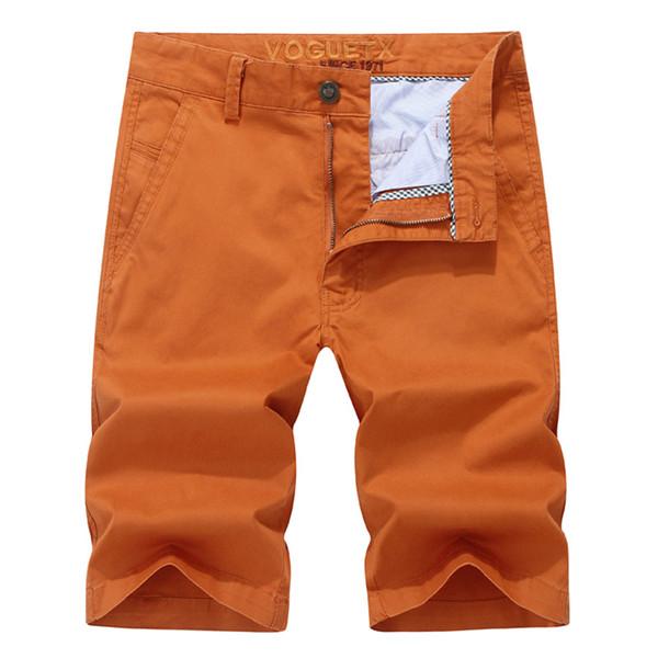 Mens Casual Shorts Jungen Sommer Männer Schlank Knielangen Kurze Hose Strand Shorts Männer Tragen Orange Reine Farbe Plus Größe 44