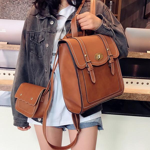 2018 NEW Fashion Backpack 2pcs Set Women Backpack PU Leather School Bag Women Casual Style A4 Paper Backpacks Shoulder Bag #92648