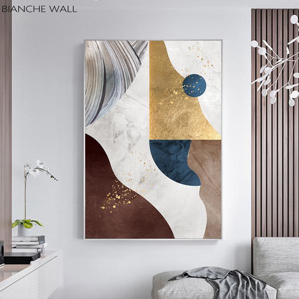 Nordic Modern Геометрический шаблон Золотой цвет блока Аннотация Плакат стены отпечатки на холсте Стена Картины Современная живопись
