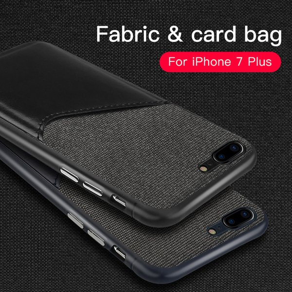 iPhone 7/7Plus Card Pocket Phone Case Leather and Cloth Switching Close Skin Five Colors Protector