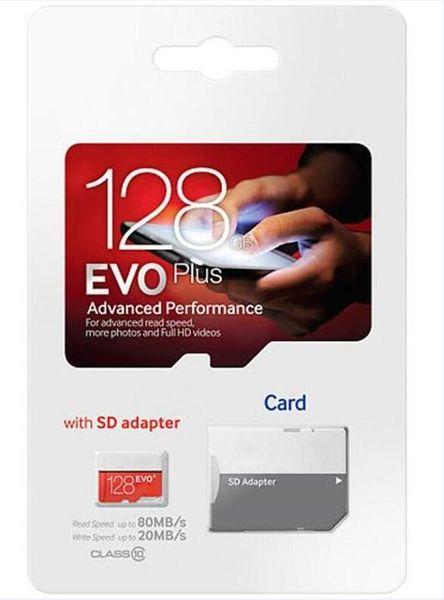 2019 heißer Verkauf weiß rot EVO + Plus Klasse 10 256 GB 64 GB 32 GB 128 GB Flash TF-Karte Speicherkarte C10 Adapter PRO PLUS Class 10 100mb / s