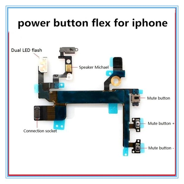 Power Button Volume Buttons Control Connector Flex Cable For iPhone 5 5s 4 4s Light Sensor Power Flash Mute Switch ON OFF Replacement Parts