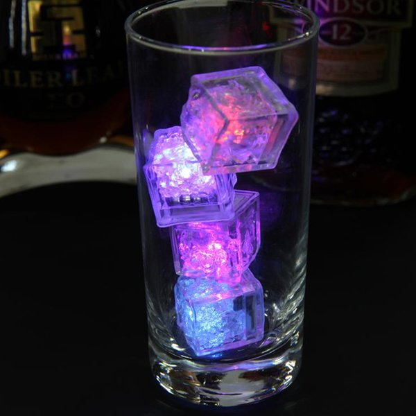 12Pcs LED Glowing Light Up Ice Cubes Slow Flashing Color Changing Cup Light Without Switch Wedding Party Halloween Decoration
