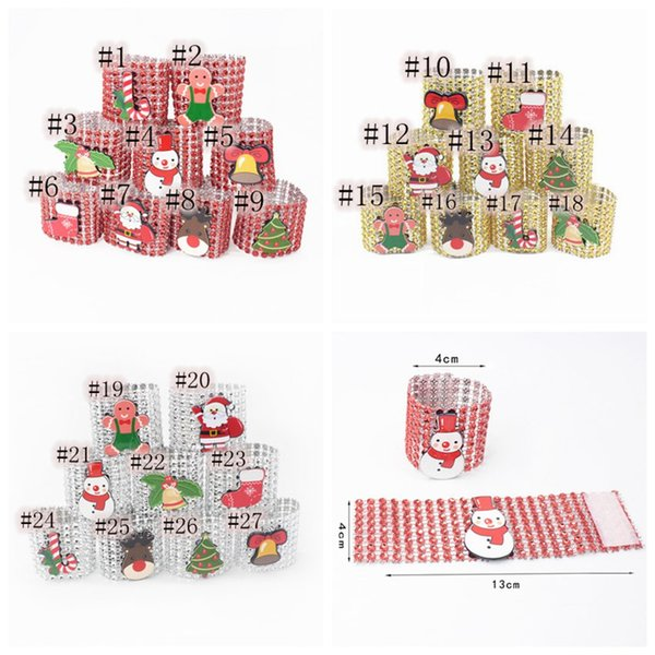 27 Styles Christmas theme napkin packing rings 8 drain drill Snowman Christmas tree bell style Napkin Rings ZZA1381a 200pcs