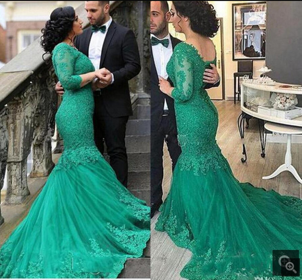 2019 gorgeous lace appliques green Long Mermaid prom Dresses beaded green formal 3/4 sleeve real picture evening prom gowns in discount