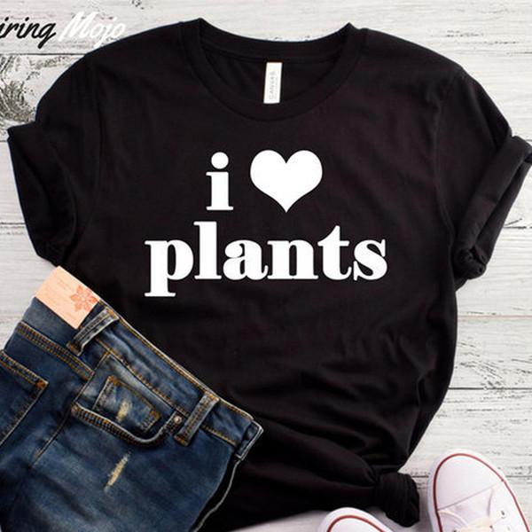 I Love Bitkiler Komik T Shirt Kadın Vegan Grafik Tee Gömlek Yaz Moda T-shirt Kadın Pamuk Boy Tees Bırak Gemi için Tops