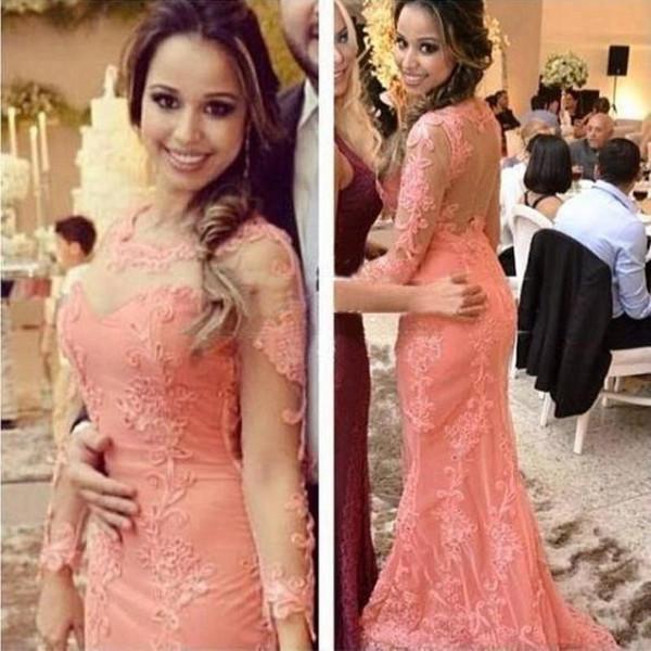 2019 New round neck long sleeve decal sexy mermaid friends ball gown pageant dress beautiful woman evening dresses vestidos de festa