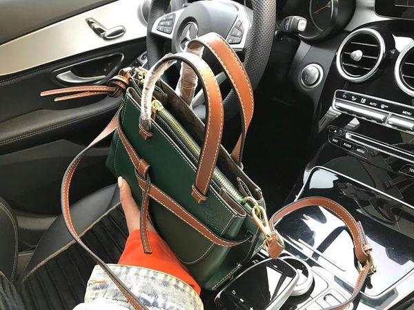 Klasik tasarım Orijinal Gerçek Hakiki deri koyun derisi eşkenar dörtgen perçin çanta seyahat Popüler ızgara çanta omuz Çalışma makyaj çantası lanling