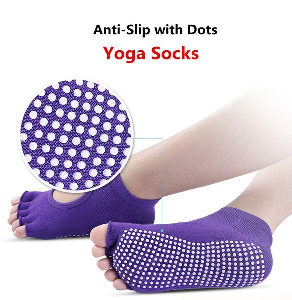 Yoga-Socken Damen-Backless fünf Zehe-Anti-Rutsch-Knöchel-Grip Fitness Gym Dance Pilates Yoga-Socken mit PVC-Punkte