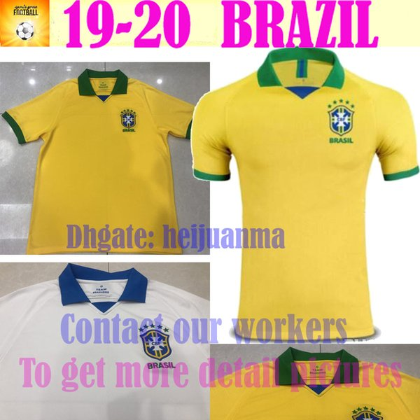 19 20 new Brazil soccer jersey home away Marcelo PELE OSCAR D.COSTA DAVID LUIZ top quality football soccer shirt national team