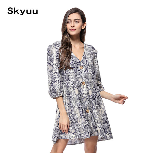 Skyuu Women Snake Print Dress Summer 2019 New Sexy V Neck Three Quarter Sleeve Elegant A Line Buttons Casual Mini Ladies Dresses
