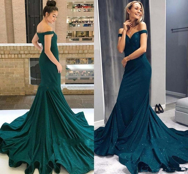 Modest Hunter Green Mermaid Prom Dresses Off Shoulder Sweep Train Long Formal Evening Party Gowns Special Occasion Dress Plus Size