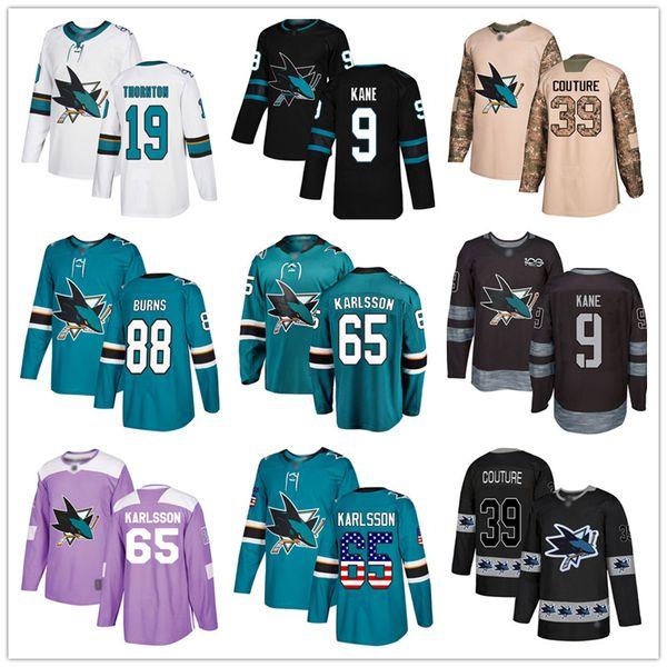 top popular Custom San Jose Sharks Jersey 65 Erik Karlsson 88 Brent Burns 9 Evander Kane 19 Joe Thornton 39 Logan Couture USA Fashion hockey jerseys 2019