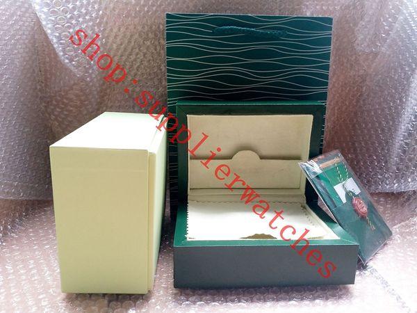Livraison Gratuite Montre Vert ROLEX Boîte Documents Carte Bourse Sac Cadeau Boîtes Sac À Main 185mm * 134mm * 84mm 0.7KG Pour 116610 116660 116710 Montres