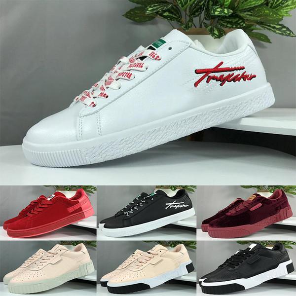 Plataforma de cuero blanco negro Clásico Clyde Zapatos planos casuales Zapatos de skate para hombre Zapatillas de deporte de terciopelo Heelback Vestido Tenis deportivo