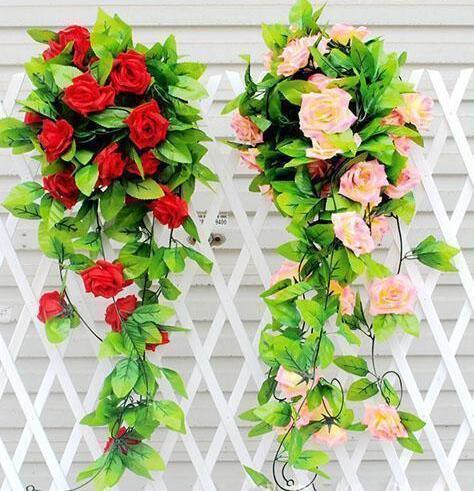 245 CM Larga Flor de Seda Artificial Vine 16 Colores Rosas Flor de Rota Plantas Hojas Hogar Pared Jardín Decoración de La Boda Suministros