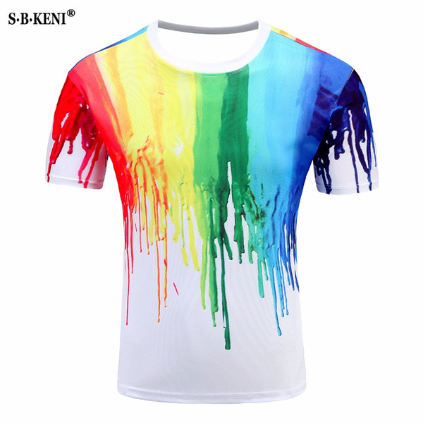 2019 New Mens womens summer T Shirt 3D printed Fashion unique Personality 7 Colour oil Paint T-shirt Casual O-Neck Short Tshirt