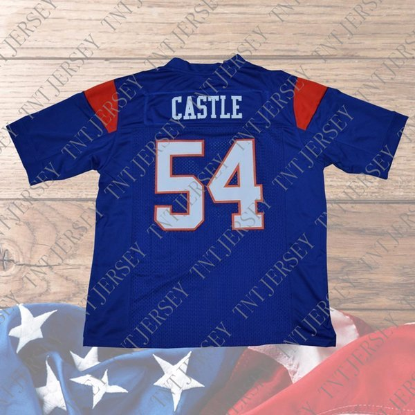 Cheap custom Thad Castle Football Jersey #54 Blue Mountain State Goats Movie Blue Stitched Customize any number name MEN WOMEN YOUTH XS-5XL