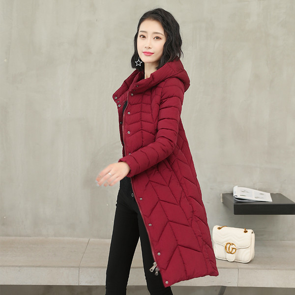 Plus Size Coat 2019 Winter Korean Parkas Women Slim Mid-Long Fur Ball Thick Snow Wear Parka Coat Female Wadded Jackets Clothing