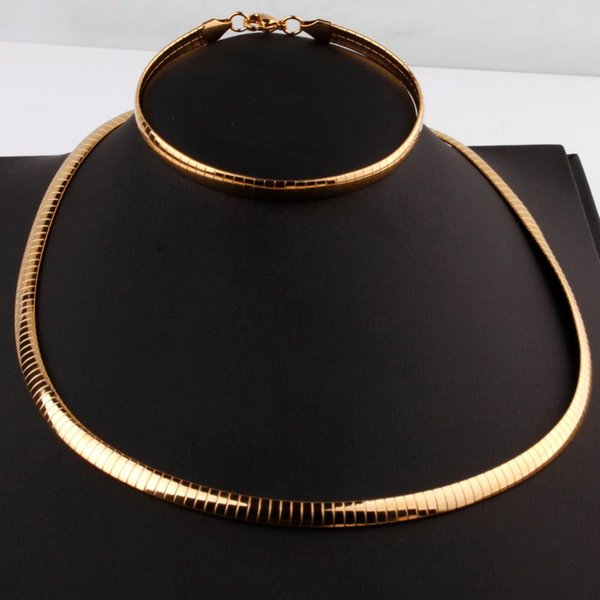 6mm Wide Romantic Fashion Silver/Gold Stainless Steel Choker Necklace Bracelet Jewelry Sets For Womens Wedding Jewelry