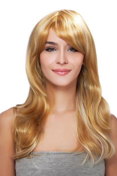 Women Elegant Long Blonde Oblique Bangs Straight Kanekalon Heat Resistant Cosplay Party Hair Full Wig Wigs