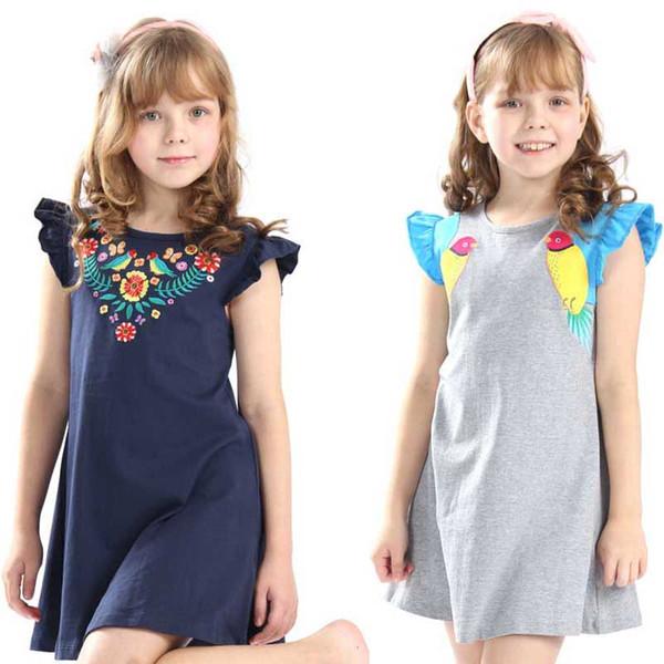 2019 Hot vente bébés filles d'été broderie robes enfants robe de bande dessinée de qualité supérieure avec applique des oiseaux mignons nouvelle robe conçue C21